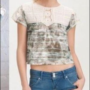 Free People Laced Eyelet Crop Top Size L